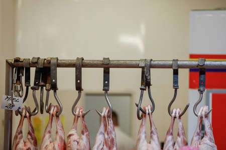 Bucharest, Romania - April 16, 2020: Lamb carcass hang from iron hooks for sale in a Romanian butcher shop before Easter.