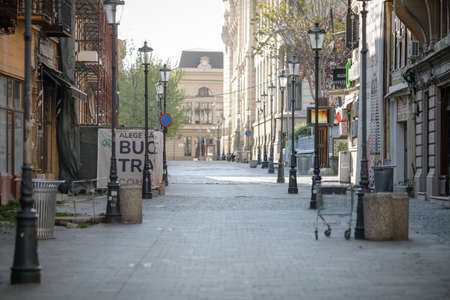 Bucharest, Romania - April 22, 2020: Deserted Bucharest's Old Town, a tourist attraction once, during the covid-19 lockdown.