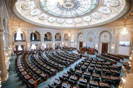 Bucharest, Romania - April 28, 2020: The Senate hall inside the Romanian Palace of Parliament. Editorial