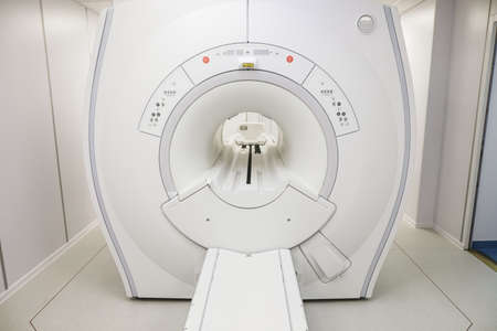 Bucharest / Romania - July 12, 2020: General Electric MRI equipment in a new medical clinic.