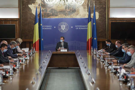 Bucharest / Romania - July 16, 2020: Ludovic Orban, the prime minister of Romania, presides over the Government Meeting held in Victoria Palace. Editorial