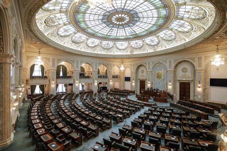 Bucharest / Romania - July 14, 2020: The Senate Hall inside the Palace of Parliament.