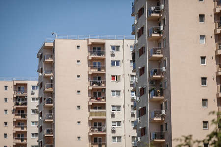Bucharest / Romania - July 14, 2020: Block of flats in a residential complex.