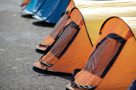 Tents on the pavement during a protest
