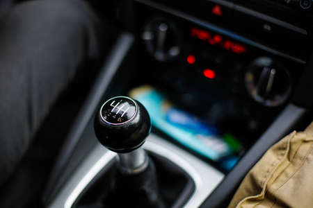 Details with a gear shift knob of a manual gearbox car