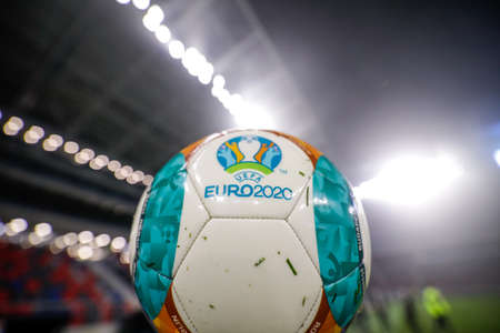 Bucharest, Romania - November 27, 2020: Details with a wet Euro 2020 official soccer match ball in a stadium.