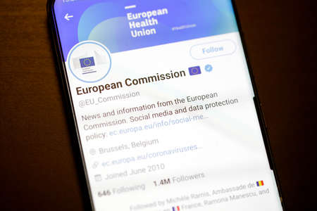 Bucharest, Romania - December 13, 2020: Details with the Twitter account of the European Commission on a mobile device screen.