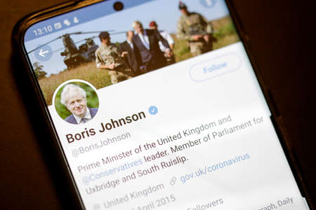 Bucharest, Romania - December 13, 2020: Details with the Twitter account of Boris Johnson on a mobile device screen.