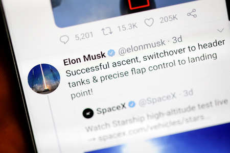 Bucharest, Romania - December 13, 2020: Details with the Twitter account of Elon Musk on a mobile device screen.