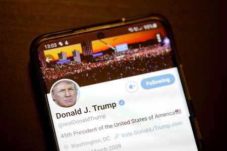 Bucharest, Romania - December 13, 2020: Details with the Twitter account of Donald Trump on a mobile device screen. 新闻类图片