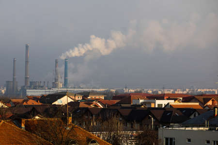 Bucharest, Romania - January 3, 2021: Thermal power station during a cold and sunny winter day in Bucharest.