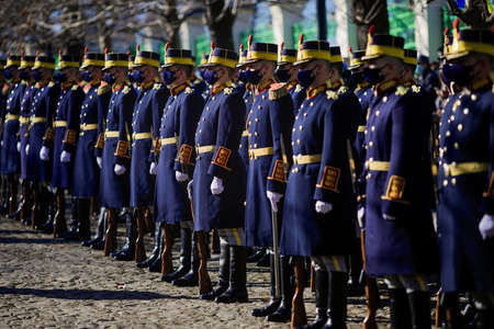 Bucharest, Romania - January 24, 2021: Michael the Brave 30th Guards Brigade soldiers during a ceremony. Editorial