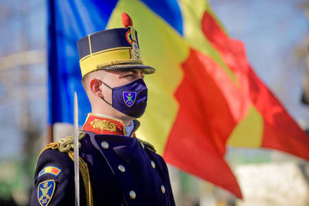 Bucharest, Romania - January 24, 2021: Michael the Brave 30th Guards Brigade soldier during a ceremony. Editorial