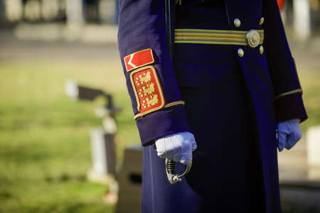 Bucharest, Romania - January 24, 2021: Details of the uniform of a Michael the Brave 30th Guards Brigade soldier.