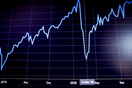 Shallow depth of field (selective focus) with details of a chart showing the stock market crash from March 2020 due to the Covid-19 pandemic on a computer screen (S&P500 index) Standard-Bild