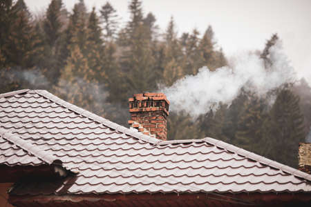 Smoking chimney with a cone trees forest in the background, in a mountain area of Romania during a foggy and cold early winter day.