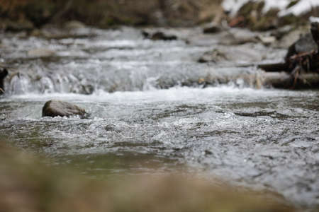 Details with the clear water of a running mountain stream during a cold and sunny winter day in the Romanian Carpathian Mountains.