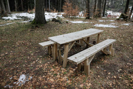 Wooden table and benches in the middle of a Romanian forest during a cold and rainy winter day.