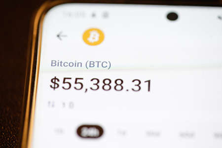 Bucharest, Romania - March 16, 2021: Details with the Bitcoin cryptocurrency value on a mobile phone display.