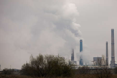 Thermal power station during a cold winter day in Bucharest. Standard-Bild