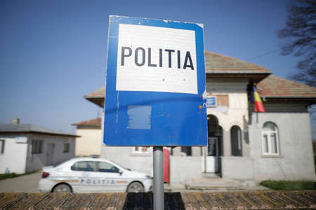 Sintesti, Romania - April 11, 2021: Police sign in front of a police station in a rural part of Romania. Editorial