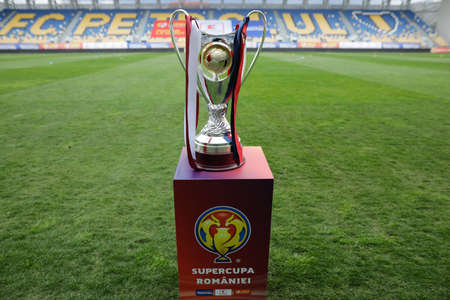 Ploiesti, Romania - April 15, 2021: Details with the Supercupa Romaniei (Romanian Supercup), a championship contested by the Liga I and the Cupa Romaniei winners.