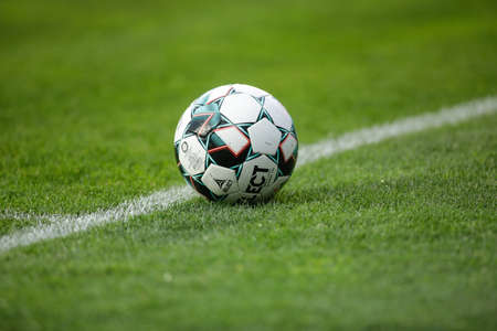 Ploiesti, Romania - April 15, 2021: Details with a Select soccer ball during a game.