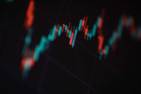 Shallow depth of field (selective focus) with details of a candlestick chart on a computer screen. Standard-Bild