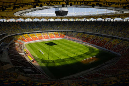Bucharest, Romania - April 25, 2021: Overview of the National Arena Stadium in Bucharest on a sunny day.