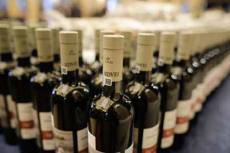 Bucharest, Romania - April 27, 2021: Shallow depth of field (selective focus) image with Jidvei Romanian wine bottles. Editorial