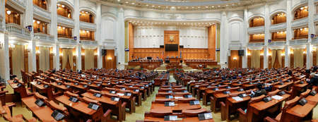 Bucharest, Romania - May 5, 2021: Panorama with the Romanian Chamber of Deputies inside the Palace of Parliament.