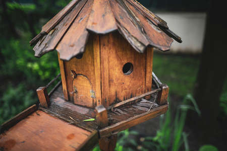 Shallow depth of field (selective focus) details with a wooden bird's house.