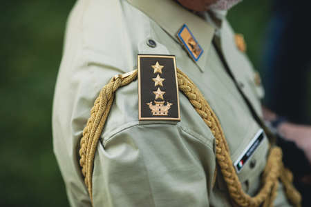 Bucharest, Romania - July 14, 2021: Shallow depth of field (selective focus) details with a three star general military rank of the Italian Army (Generale d'Esercito). Editorial