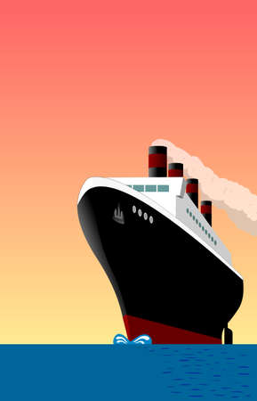 ocean liner: Vintage ship at sea. Poster style.