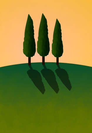 Hill with three cypress trees