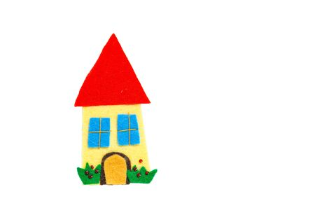 dwarfs: Aback home. Home sweet home, the concept of home. Felt creations, and abstract concept of miniature house, cheerful and colorful for recurrences.