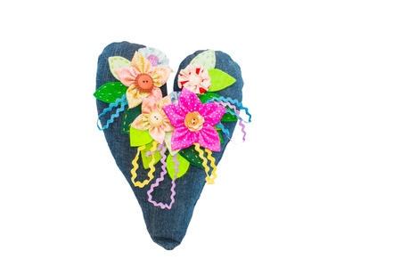 lovable: Decorative heart and flowers in jeans recycled fabric. Cute, lovable, to give for Valentines Day. Handmade. Stock Photo