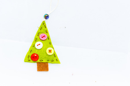dwarfs: Christmas tree, graphic resource, recycled fabric, idea of Christmas, the festival concept, abstract object. Stock Photo