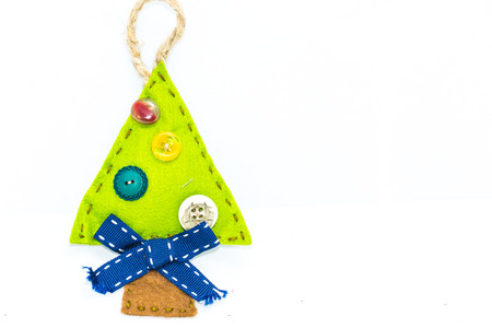 nice: Christmas tree, graphic resource, recycled fabric, idea of Christmas, the festival concept, abstract object. Stock Photo