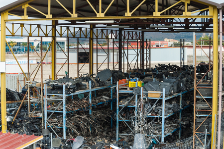 scrapyard: Expanse of cars in demolition. Ready for recycling or destruction. Stock Photo