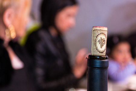 bacchus: Agricultural Wine cork on a typical wine bottle, open. Concept of something lived.