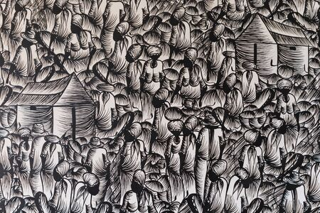 casbah: Background in black and white with people at the market design. graphic resource. the crowd concept, assemblage, typical of Latin cities, Muslim, Mediterranean. casbah typical.