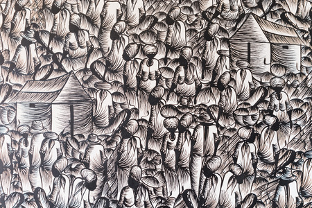 assemblage: Background in black and white with people at the market design. graphic resource. the crowd concept, assemblage, typical of Latin cities, Muslim, Mediterranean. casbah typical.