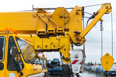 roadside assistance: For roadside assistance cranes. Wrecker for heavy vehicles. Breakdown on the road. Stock Photo