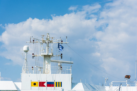 collisions: Abstract and conceptual technology, radar on a ship. ARPA is one of maritime navigation tool, to avoid collisions or accidents at sea fog.