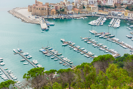 castellammare del golfo: Panorama of the port of Castellammare del Golfo. Ancient Sicilian fishing village. Harbor with moored yachts. The places of Montalbano, TV dramas.