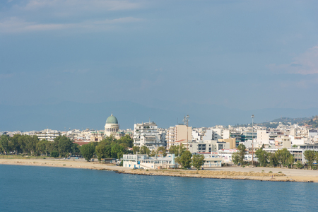 Abstract and conceptual tourism, overview of Patras, the city of the Peloponnese, region of Greece. With the dome of the basilica of St. Andrew the Apostle,