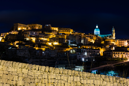 Abstract and conceptual of Sicilian Baroque, ancient town Ragusa. The places of Montalbano, Italian TV drama known throughout the world. From dusk to night, and the blue hour.