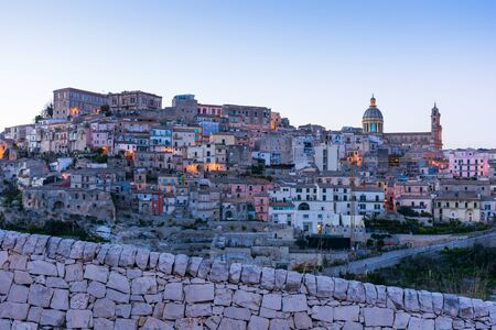 Abstract and conceptual of Sicilian Baroque, ancient town Ragusa. The places of Montalbano, From dusk to night and the blue hour.