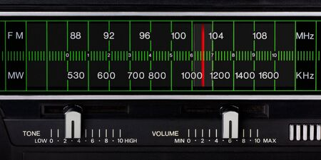 black vintage radio tuner closeup with tone and volume control Stock Photo - 5998201